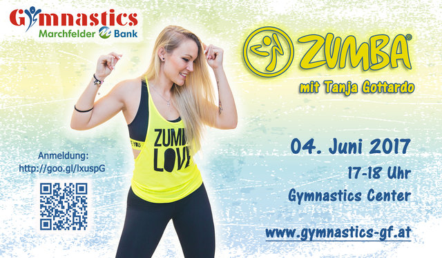 Am 4. Juni 2017 lädt der SV MB Gymnastic Zumba®-Profi Tanja Gottardo nach Gänserndorf.