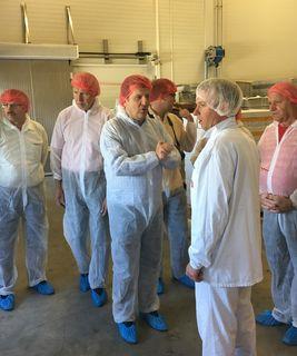 SPÖ-Klubobmann Christian Makor in der Wiener Schnitzel-Manufaktur in Andorf im Gespräch mit Betriebsleiter Pascal Hahn.