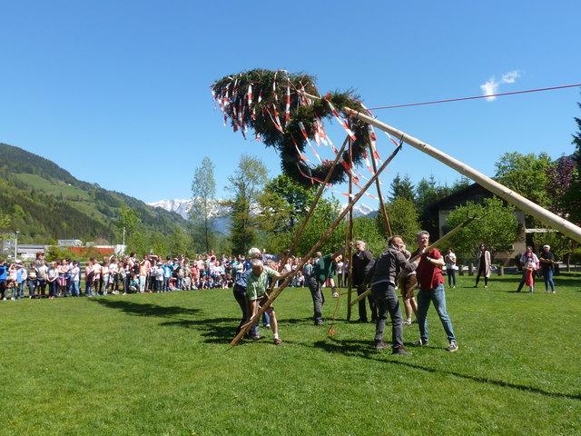 Schüler, Eltern und Lehrer der Neuen Volksschule St. Johann stellten mit dem Gauverband der Pongauer Heimatvereinigungen einen Maibaum auf.