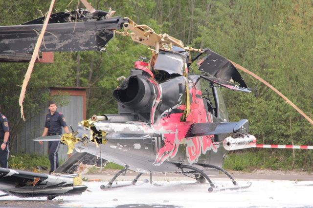 Der Hubschrauber nach dem Crash.