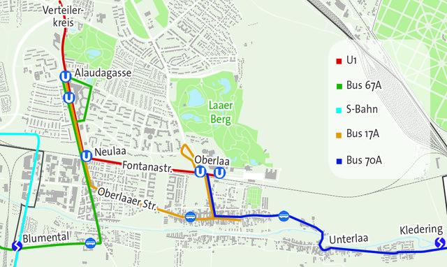 Die neuen Busrouten südlich der Bahnlände: Der 17A fährt nicht mehr bis zur Stadtgrenze. 70A und 67A binden die S-Bahn an.
