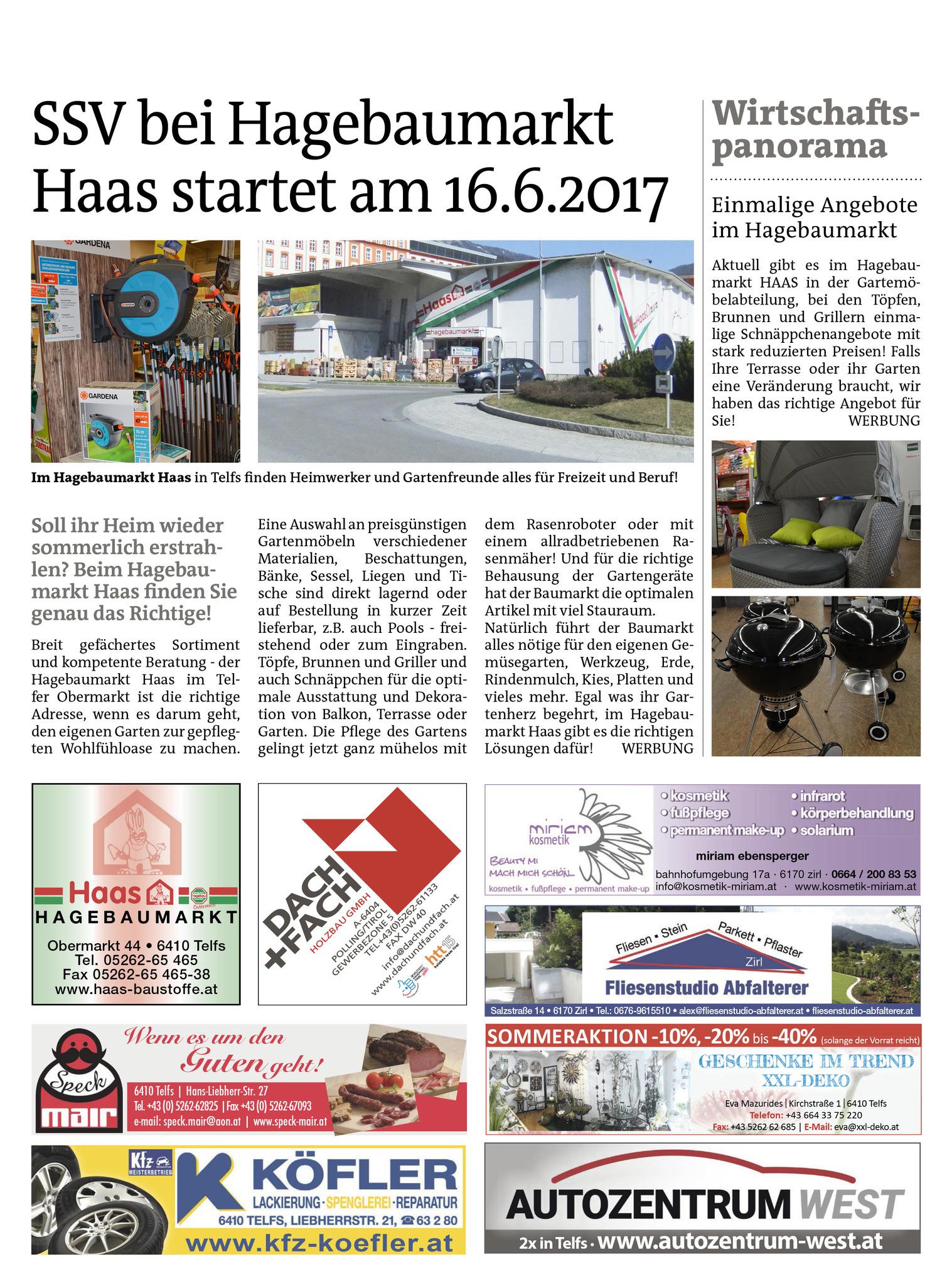 Wirtschaftspanorama Ssv Beim Baumarkt Haas In Telfs Telfs