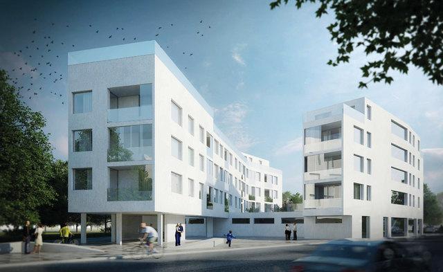 So könnte ein möglicher Wohnbau auf dem alten Exerzierplatz in Korneuburg aussehen, wie Wiener Komfortwohnungen mitteilt.