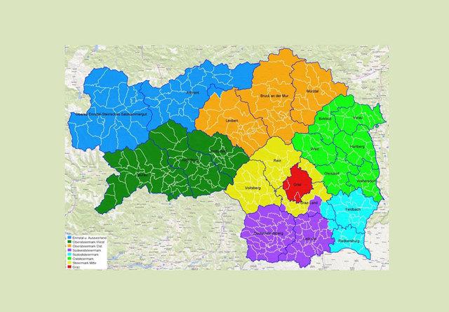Die neuen acht Regionen in der Seelsorgelandschaft der Diözese Graz-Seckau.