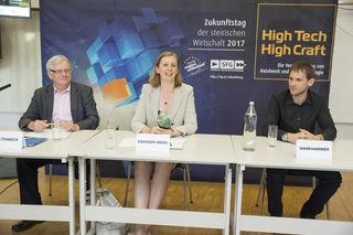 Präsentierten die Highlights des heutigen Zukunftstages 2017: SFG-Geschäftsführer Kaltenbeck, Wirtschaftslandesrätin Eibinger-Miedl und sonible-Gründer Wankhammer (v. l.).