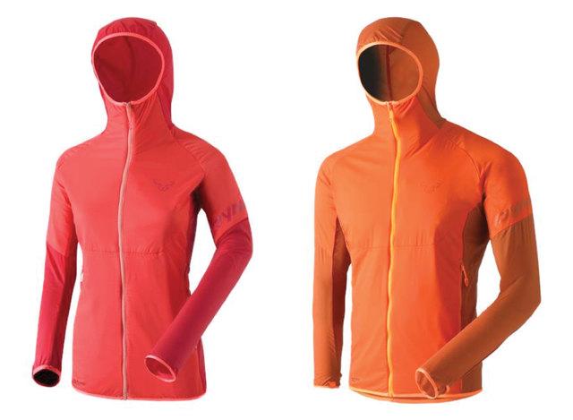 Sehr atmungsaktiv und windabweisend: die Polartec® Alpha® isolierte Jacke für Höchstleistungen am Berg für Damen (rot) oder Herren (orange).