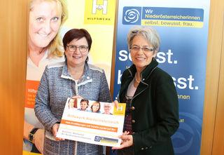 Hilfswerk NÖ Präsidentin Michaela Hinterholzer freut sich über die Kooperation mit den ÖVP-Frauen und deren Chefin Petra Bohuslav.