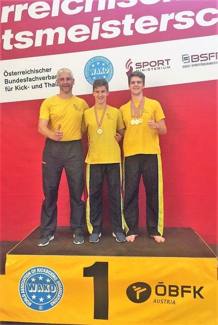 Österreichische Staatsmeisterschaft im Kickboxen (von links: Günther Weninger, Matthias Weninger, Johannes Weninger)