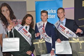 Mister NÖ 2016 Finalisten: Stefan Fizor, Markus Floh und der Gewinner Phillip Indraczek