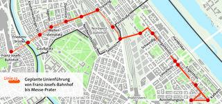 Ab 2022 soll die Linie 12 vom Franz-Josef-Bahnhof bis zur Messe fahren.