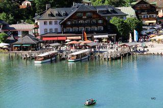 Blick vom Cafe Malerwinkel auf die Anlegestelle Schönau am Königssee