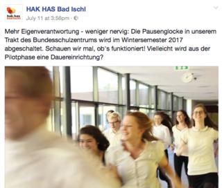 Per Facebook-Posting informierte Susanne Mayr über das Projekt für das kommende Wintersemester.