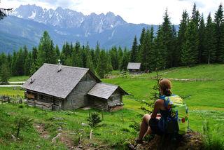Blick von der Iglmoos Alm zwischen Goiserer Hütte und Gosau auf den Gosaukamm.