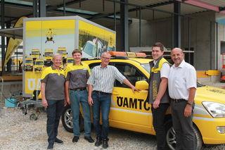 Das Team des ÖAMTC OÖ unter Leitung von Präsident Karl Pramendorfer (li.) freut sich über den planmäßigen Baufortschritt des neuen Stützpunktes in Bad Ischl.