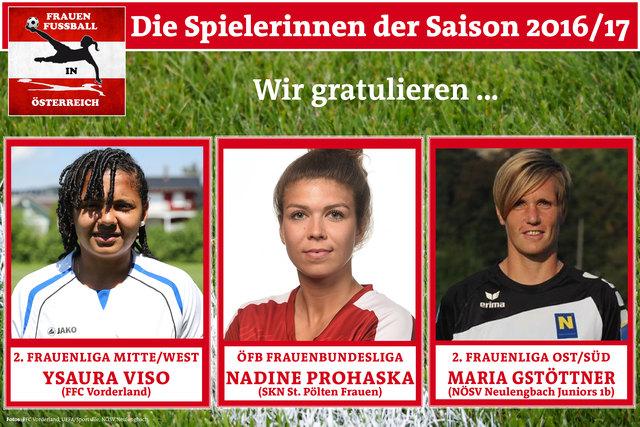 Die Spielerinnnen der Saison: Ysaura Candelaria Viso Garrido (2. Frauenliga Mitte/West), Nadine Prohaska (ÖFB Frauenbundesliga), Maria Gstöttner (2. Frauenliga Ost/Süd)