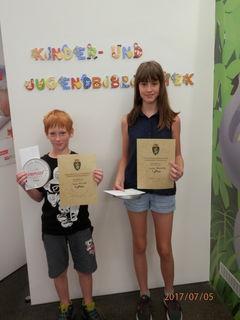 Die Gewinner der NMS Pischelsdorf: Ariane Ranegger und Jonas Kulmer