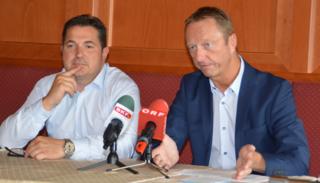 Präsentierten die Kandidatenlisten für die Gemeinderatswahl: FPÖ-Landesparteisekretär Christian Ries und FPÖ-Landesparteiobmann Johann Tschürtz