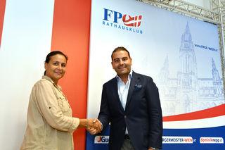 Willkommen bei der FPÖ: Heidi Reinwein-Karik und FP-Mariahilf-Chef Leo Kohlbauer im Rathausklub der FPÖ.