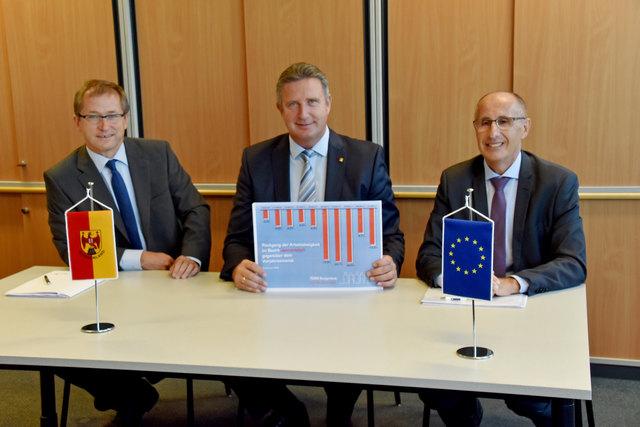 Erwarten durch drei Betriebsansiedlungen neue Wirtschaftsdynamik (von links): Hans-Peter Rucker (Burgenland-Holding), LAbg. Ewald Schnecker, Südburgenland-Manager Werner Unger.