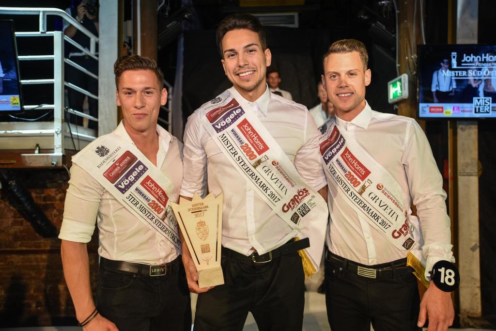 Die schönsten Steirer: Christoph Nußbacher, Haris Samardzic (1. Platz) und Matthias Friehs.