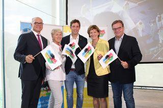 ÖOC-Präsident Karl Stoss, Paralympics-Präsidentin Maria Rauch-Kallat, Botschafter Benni Raich, Bgm. Christine Oppitz-Plörer und LH Günther Platter