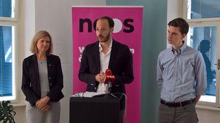 Die NEOS stellten bei einer Pressekonferenz in St. Pölten ihr niederösterreichisches Spitzentrio für die Nationalratswahlen vor.