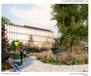 Blick auf Bauteil IV und Bauteil I (hinten rechts), inklusive Impression einer großzügigen Park-Gestaltung.