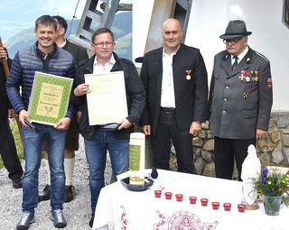 Sebastian Danzl, Johann Loibichler, Obmann Sebastian Wimmer und Ehrenobmann Hermann Hotter.