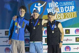 Max Rudigier (re.) eroberte in Arco (ITA) seinen ersten Weltcup-Podestplatz.
