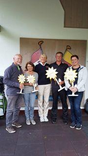 Von links: Die Seniorenclubmeister Hans Pfuner und Gisela Baier, Präsidentin Bettina von Brauchitsch sowie die Clubmeister Helmut Gratz und Carine Reiter.