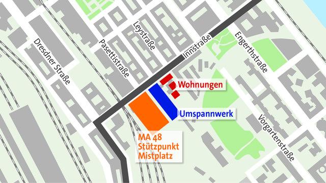 Umspannwerk und Mistplatz: 300 Gemeindewohnungen müssen den Bauten unter Umständen weichen. (Plan: APA; Grafik: VHB)