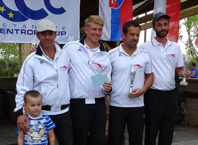 Das österreichische Nationalteam erreichte Platz 3. (vlnr.) Lionel BOSSARD (WT), Sven THILL (PVN), Alberto HINOJOSA (HAP), Pierre Viennet (WT)