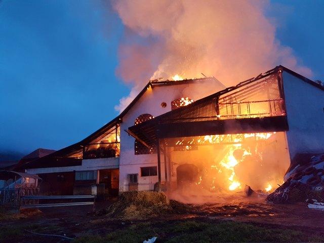 Das Wirtschaftsgebäude in Obermühlbach wurde völlig zerstört