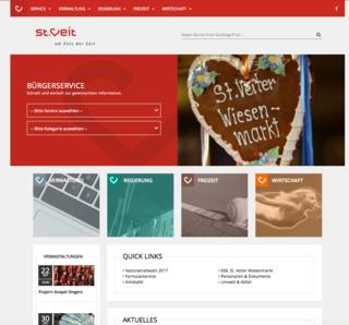 Im neuen Outfit präsentiert sich die Homepage der Stadt St. veit