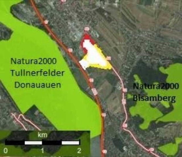 Das geplante Post-Zentrum zwischen zwei Natura 2000 Umweltschutzgebieten