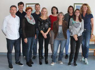 v.l.n.r. Harald Köppel (stv. Leiter Service-Center Mistelbach der NÖ Gebietskrankenkasse), Norbert Rathusky (Caritas), Marianne Bauer (AMS), Helmut Langer (Case Manager Service-Center Mistelbach der NÖ Gebietskrankenkasse), Monika Vogtenhuber (IBI), Claudia Gamsjäger (Fit2work), Karin Mang (IBI), Marion Schalkhammer (Caritas), Denise Kleedorfer-Riedl (Caritas), Henriette Köllner (FAB Produktionsschule);