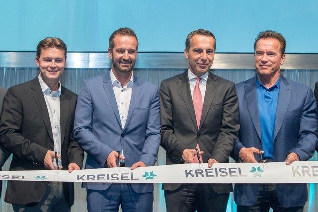 Offizielle Eröffnung (von links): Markus Kreisel, Christian Schlögl, Bundeskanzler Christian Kern und Arnold Schwarzenegger.