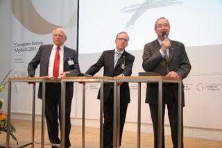 WKÖ-Präsident Christoph Leitl bei einer Podiumsdiskussion mit AK-Präsident Rudi Kaske und Claus Raidl, Präsident der Oesterreichischen Nationalbank, beim Europäischen Forum Alpbach 2015 (v. re. n. li.).
