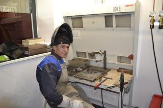 Ahmed Mustafa an seinem Arbeitsplatz