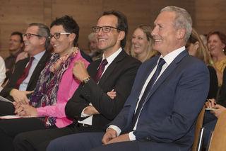 Veranstalter und Vortragende Dr. Johannes Ortner (Vorstand RLB Tirol), Mag. Claudia Muigg (Vortragende, Die Beraterinnen), Mag. Rudolf Kirchmair (RB Seefeld), Dir. Mag. Horst Mayr (RB Seefeld)