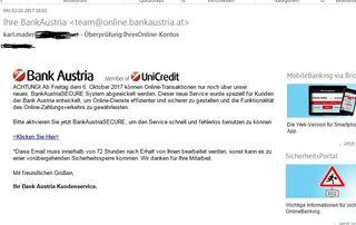 Dabei hab ich gar kein Konto bei der Bank Austria....