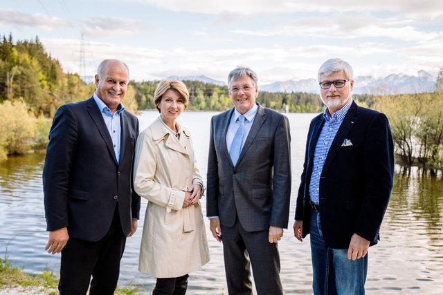Johann Koban, Gaby Schaunig, Peter Kaiser und Manfred Freitag räumen die Gerüchte aus dem Weg