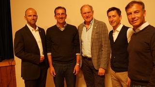 Hubert Siller (MCI), Rodler Markus Prock, Generalsekretär ÖOC Peter Mennel, Nord. Kombinierer Mario Stecher, Skirennläufer Günther Mader