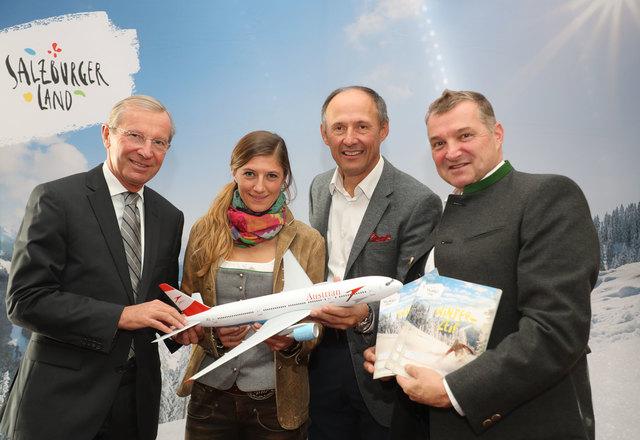 Verkaufen uns und anderen den Winter: LH Wilfried Haslauer, Hotelierin Manuela Wolf, SLT-Chef Leo Bauernberger und Hotelier Erich Bergmüller.