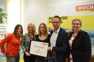 Sandra Kerschbaumer von der WOCHE, Silvia Kuchernig, Selina Ogris, Mario Liesinger und Petra Kreuzer (WKK)