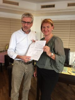 Sepp Wimmer und Helga Krismer bei der Pressekonferenz zum Thema Wahlrecht für Zweitwohnsitzer.