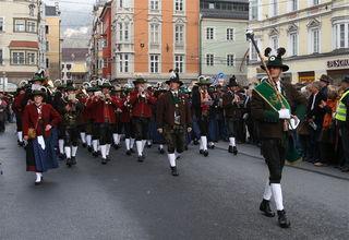Wipptal-Stubai-Block beim Landesmusikfest 2007 (Landesmusikfest findet alle 10 Jahre statt) in Innsbruck unter der Stabführung des damaligen Bezirksstabführers Norbert Pittl.