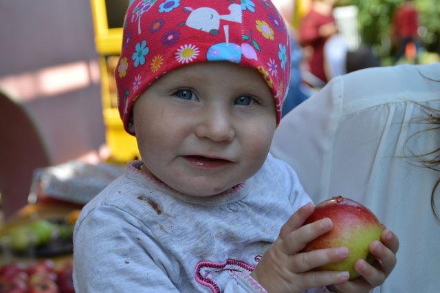 auch die jüngeren Geschwister waren vom Apfel begeistert