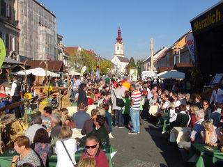 Im Südsteiermarkdorf am Leibnitzer Hauptplatz herrschte zum Auftakt des Südsteirischen Herbstfestes ein buntes, geschäftiges Treiben.