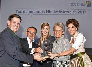 Christoph Madl, Geschäftsführer Niederösterreich-Werbung, Christian Guzy (Diamond Experience), Doris Ploner (Die Käsemacher), Tourismuslandesrätin Petra Bohuslav und Katrin Lux.